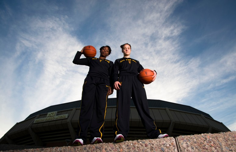ASU guards Deja Mann (left) and Katie Hempen pose for a photo outside of Wells Fargo Arena.