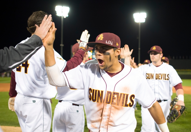 ASU shortstop Drew Stankiewicz celebrates with his teammates after defeating Arkansas 3-2 in the Coca-Cola Classic on Thursday, Feb. 28, 2013 at Surprise Stadium. Aaron Lavinsky/The Arizona Republic