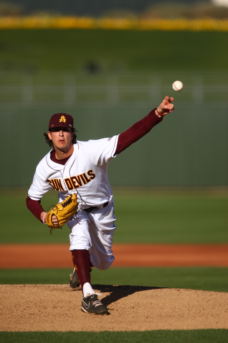 ASU pitcher Brett Lilek throws a practice pitch before the first inning against Arkansas during the Coca-Cola Classic on Thursday, Feb. 28, 2013 at Surprise Stadium. Aaron Lavinsky/The Arizona Republic